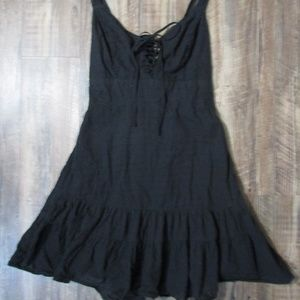 Juniors Black Sun Dress with Lace-Up Bust Size Med